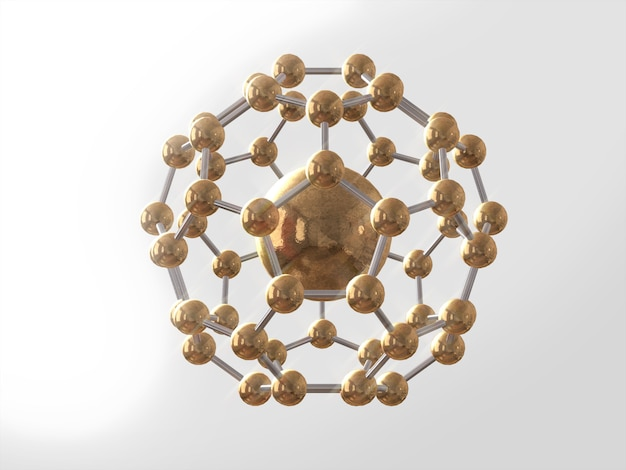 Science atom struttura del modello molecolare del dna, atomo d'oro. rendering 3d