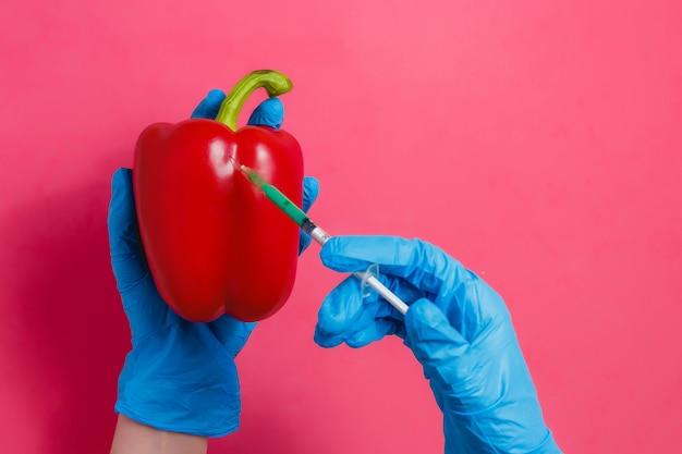 Scienziato ogm che inietta liquido verde dalla siringa a pepe rosso