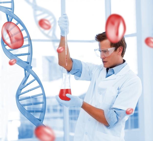 Scienziato serio che mette le sostanze chimiche in un testtube