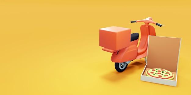 Scooter per pizza e scatola per pizza. rendering 3d
