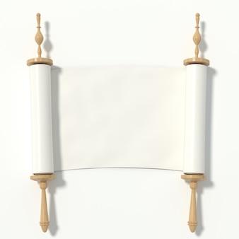 Scorrere fino al libro bianco sul rullo di legno, isolato su sfondo bianco. rendering 3d.