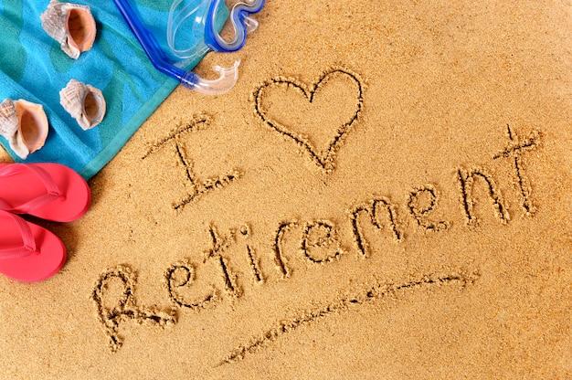 Scrittura sulla spiaggia di pensionamento