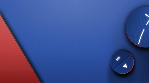 Scrivania blu con dispositivi musicali