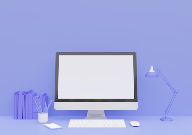Scrivania da tavolo minimal minimal monocromatica blu pastello. area di lavoro con pc, matite