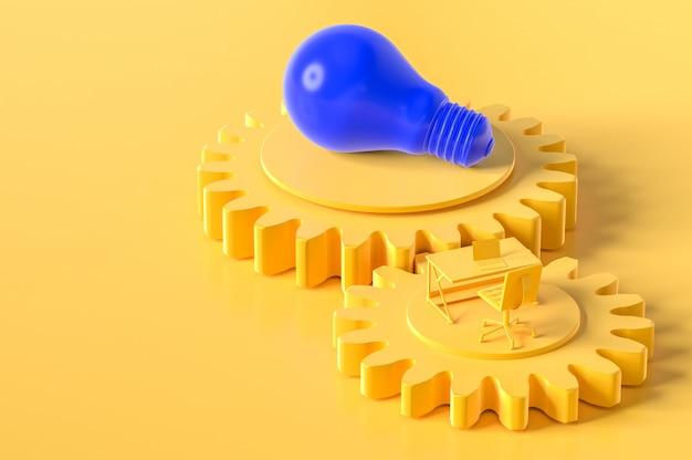 Scrivania e colore giallo lampadina sull'ingranaggio con copia spazio per il vostro testo.