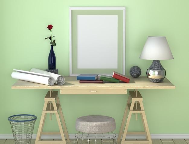 Scrivania in legno con lampada. carta e altri desktop. pattumiera e una sedia sotto il tavolo.