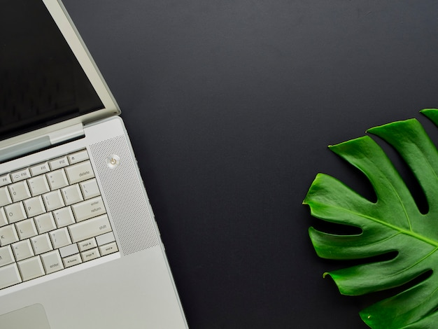 Scrivania vista dall'alto con laptop.