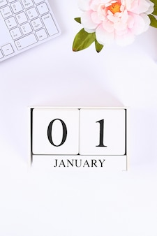 Scrivi un obiettivo per il nuovo anno in un taccuino bianco.