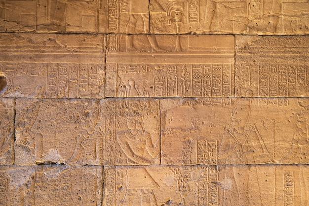 Sculture in geroglifici reali sulle pareti di un antico tempio egizio.