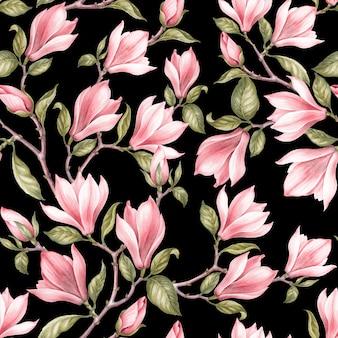 Seamless pattern di magnolia.