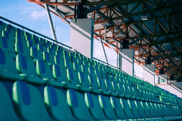 Seat stadium stadium green, vista stadio calcio.