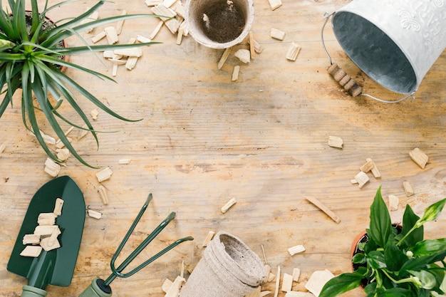 Secchio vuoto; pentola di torba; strumenti da giardinaggio; e pianta in vaso sistemata su una superficie di legno