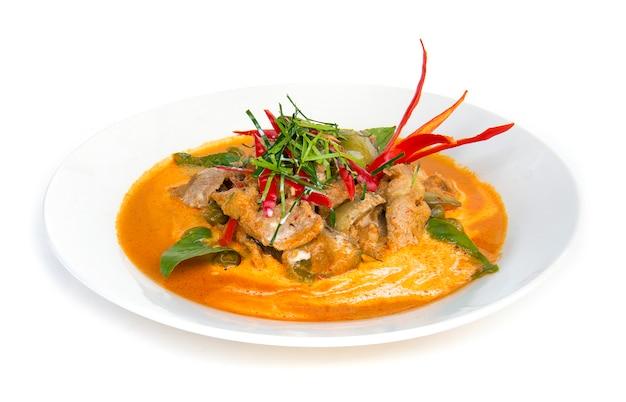 Secco maiale al curry rosso con latte di cocco (panang)