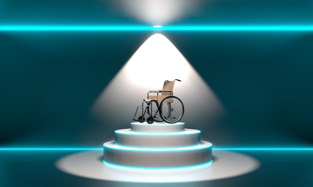 Sedia a rotelle sul podio. rendering 3d