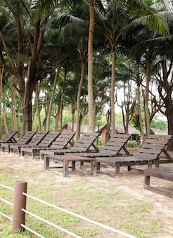 Sedia a sdraio in giardino presso il resort
