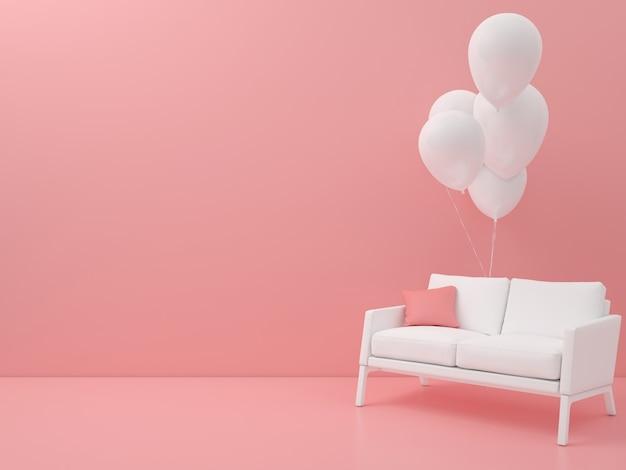 Sedia astratta con palloncino forma geometrica colore pastello minimal stile moderno