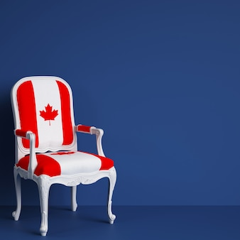 Sedia della bandiera del canada con lo spazio della copia. rendering 3d