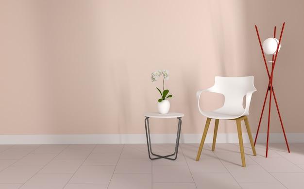 Sedia e fiore nella stanza rosa per il mockup