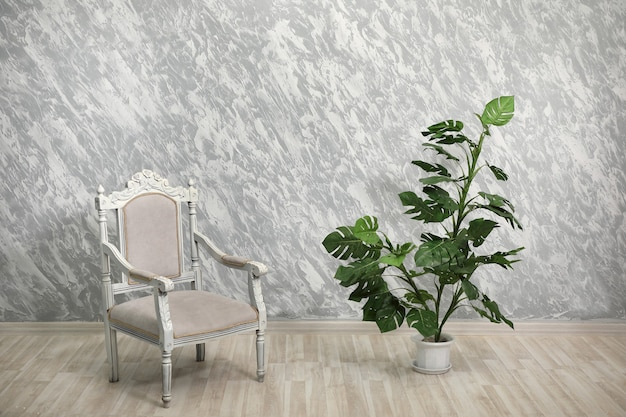 Sedia e pianta d'appartamento sullo sfondo delle pareti vuote dipinte a colori vivaci.