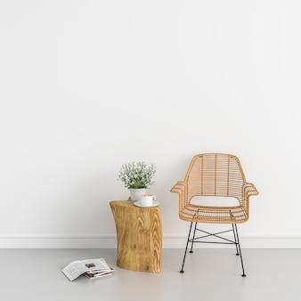 Sedia in legno e fiore nella stanza bianca per il mockup