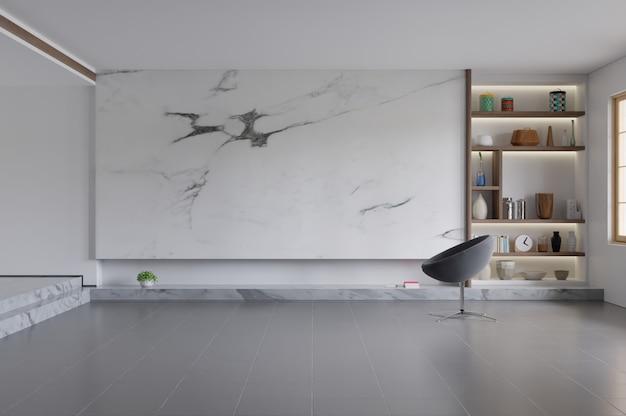 Sedia moderna del salone interno, tv sull'armadietto in salone moderno con la lampada, la tavola, il fiore e la pianta sul fondo di marmo della parete.