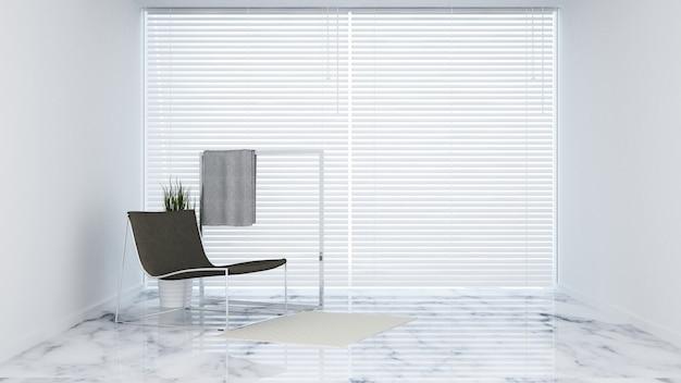 Sedia nera nel soggiorno - rendering 3d
