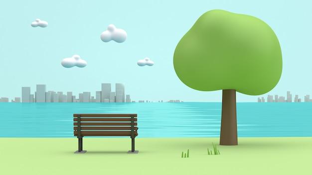 Sedia verde lato fiume fiume, alberi, stile cartoon città basso poli rendering 3d