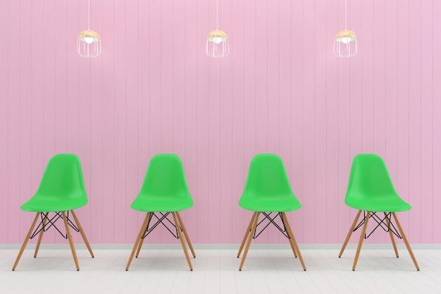 Sedia verde pastello bianco muro di legno bianco piano texture texture mouckup
