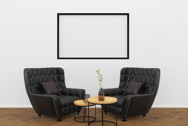 Sedia vintage in pelle nera pavimento in legno scuro soggiorno sfondo cornice interna
