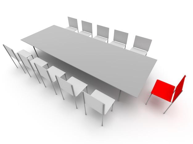Sedie e tavolo. concetto di leadership