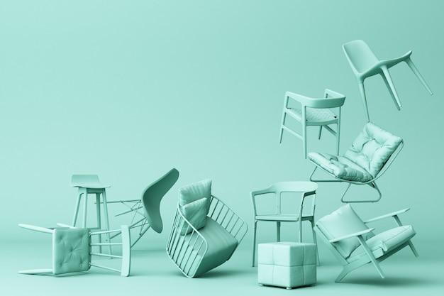 Sedie pastelli verdi nel fondo verde vuoto concetto della rappresentazione di arte 3d dell'installazione e di minimalismo