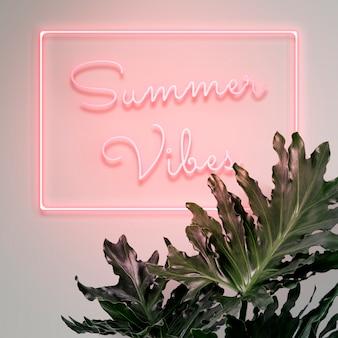 Segnale al neon di vibrazioni estive