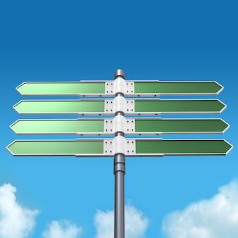 Segnale di direzione in bianco con 8 frecce (aggiungi il tuo testo) sul cielo.