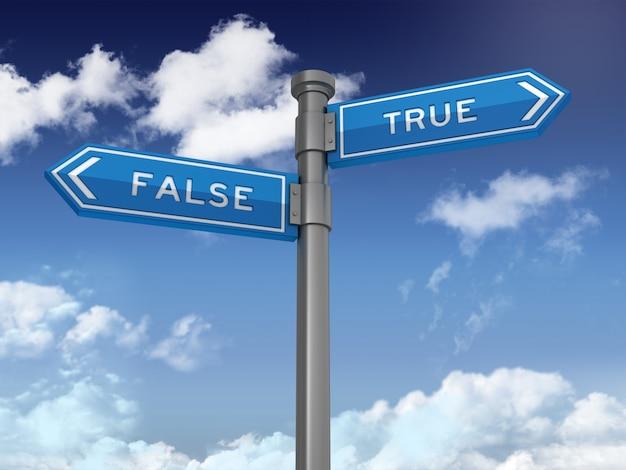 Segnale direzionale con false vere parole su cielo blu