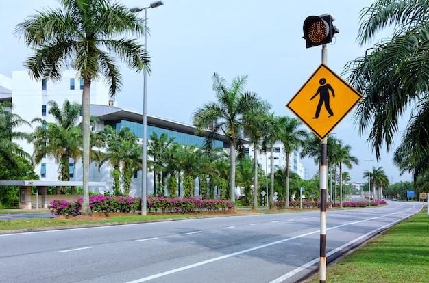 Segnale stradale del passaggio pedonale con il semaforo rosso, via vuota della città con le palme