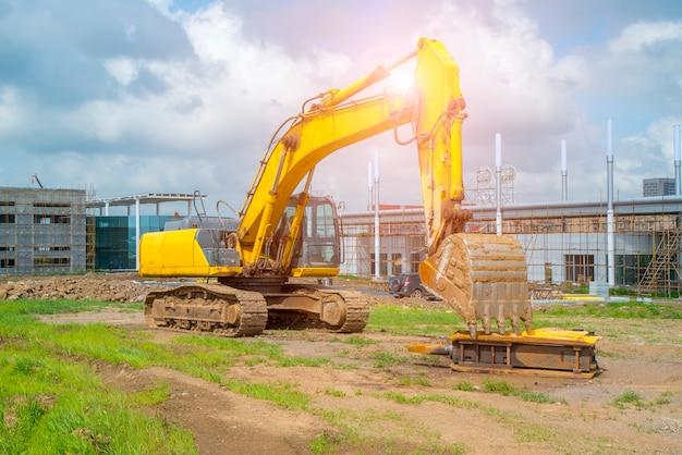 Segni stradali molecole fabbriche costruzione stradale ingegneria escavatori