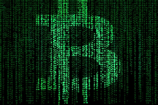 Segno bitcoin su matrice verde