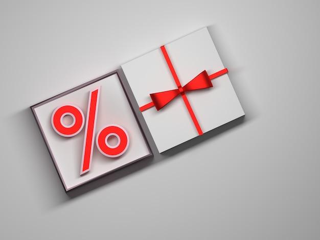 Segno del dollaro che risiede in un contenitore di regalo bianco aperto. vista dall'alto di una confezione regalo con un fiocco rosso