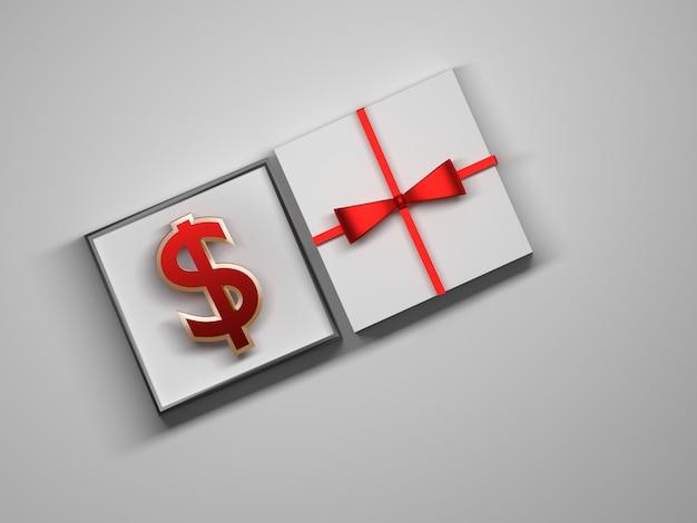 Segno del dollaro che risiede in un contenitore di regalo bianco aperto.