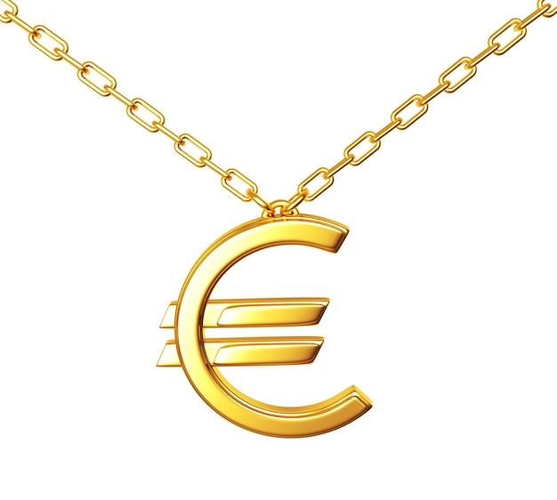 Segno dell'euro dell'oro su una catena