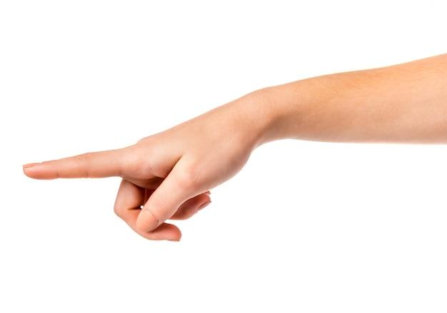 Segno della mano femminile isolato
