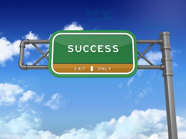 Segno della strada principale con la parola di successo su cielo blu