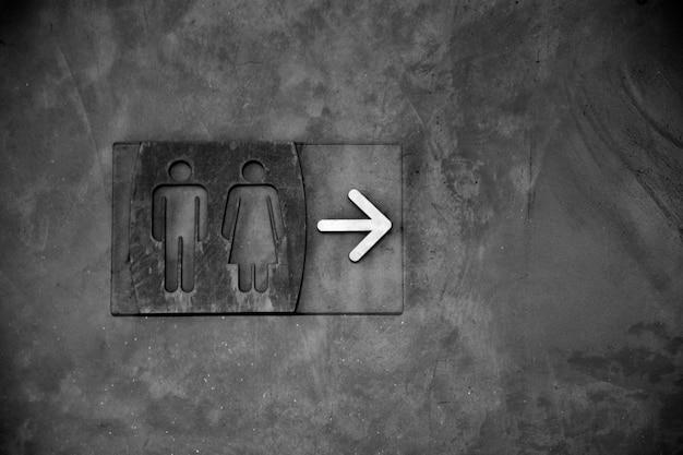 Segno della toletta - monocromio - rumore pesante e grani