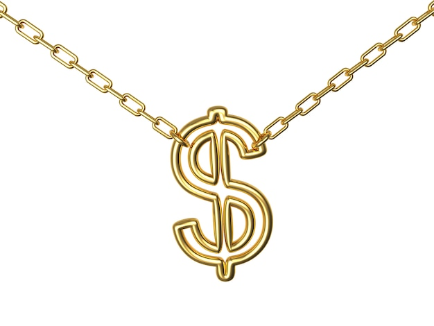 Segno di dollaro d'oro su una catena