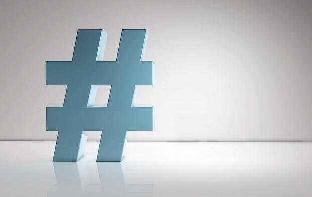 Segno di hashtag con volume sulla parete bianca - concetto di percentuale con spazio per la copia