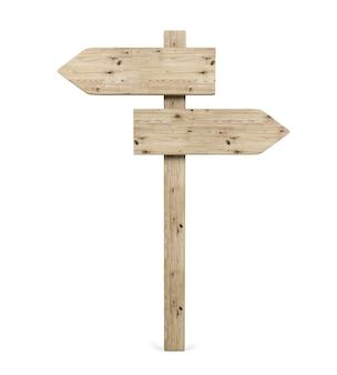 Segno di legno della freccia di direzione opposta in bianco, rappresentazione 3d