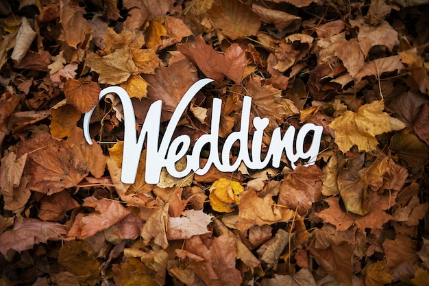 Segno di legno di nozze di autunno sul leafage