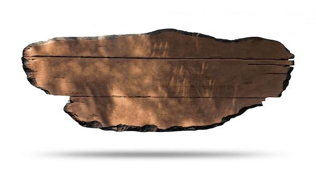 Segno di legno isolato su sfondo bianco