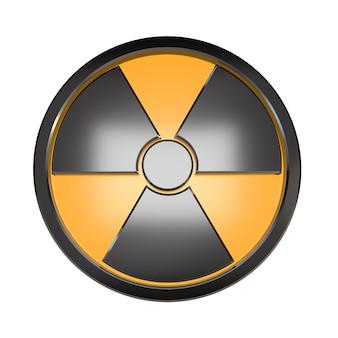 Segno di radiazione 3d su uno sfondo bianco.