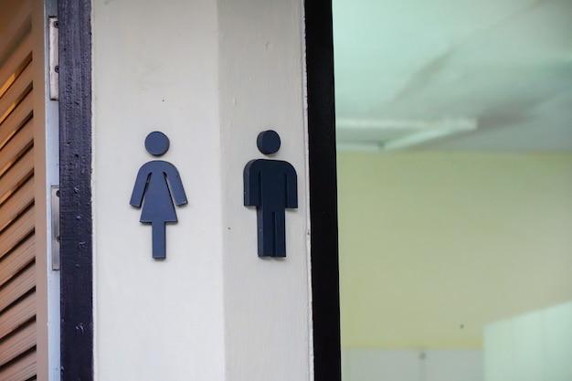 Segno di servizi igienici uomo e donna in hotel.